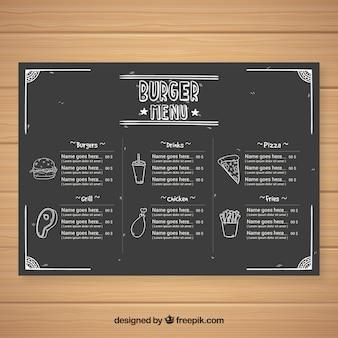 黒板スタイルのファーストフードレストランのメニューテンプレート