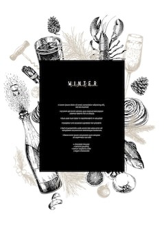 Menu template. hand drawn detailed christmas food and drinks. modern trendy menu