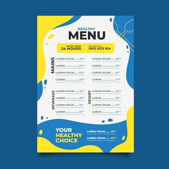Menu template healthy food restaurant