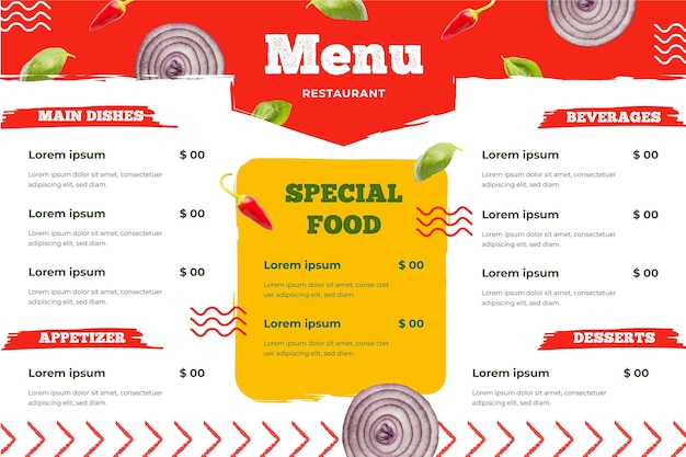 Menu template in horizontal format for digital platform with illustrations