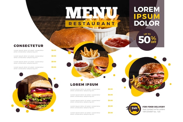 Menu template in horizontal format for digital platform with photos