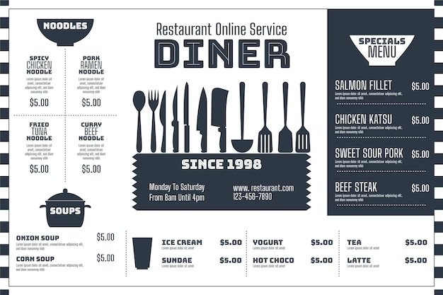 Menu template in horizontal format