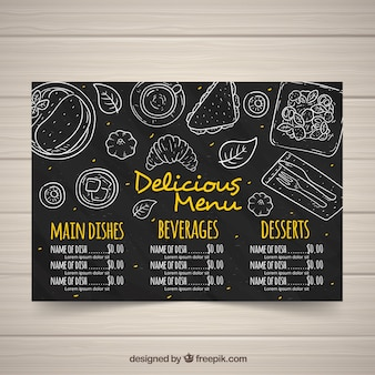 Menu template in blackboard style with yellow letters