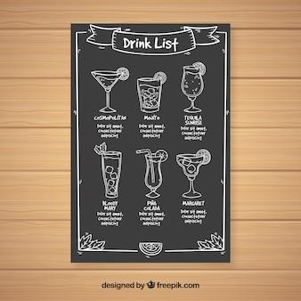 Шаблон меню экзотического коктейля в стиле доски
