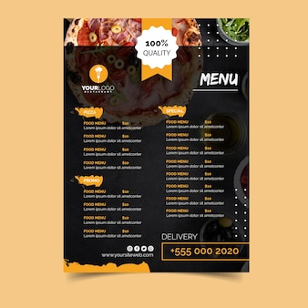 Menu template for pizza restaurant