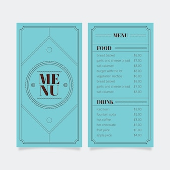 Menu template for restaurant with frame