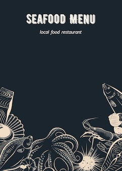Menu template for seafood restaurant cafe and fish market on a blackboard background