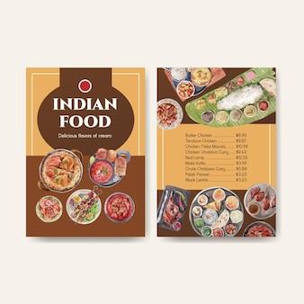 Modello di menu impostato con cibo indiano