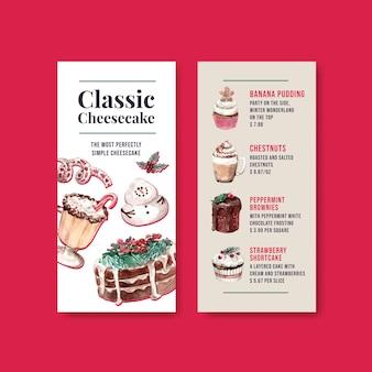 Шаблон меню с зимними сладостями в акварельном стиле