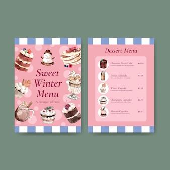 Modello di menu impostato con dolci invernali in stile acquerello