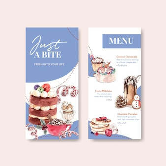 Menu template set with winter sweets in watercolor style
