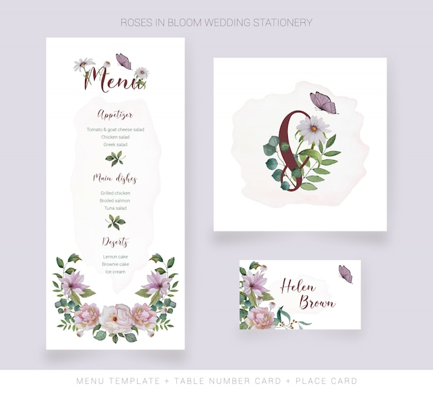Menu template, table number card, place card with watercolor flowers