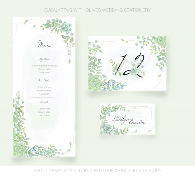 Menu template, table number card, place card with watercolor leaves