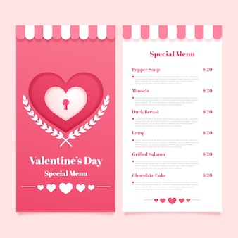 Menu template for valentine day flat design style
