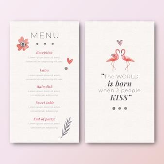 Modello di menu per matrimoni con fenicotteri
