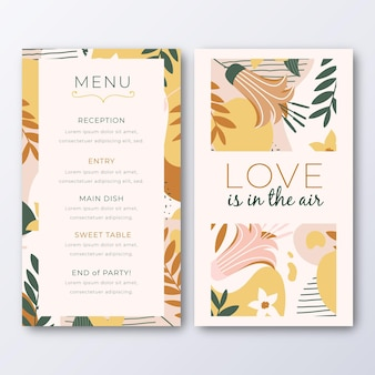 Menu template for wedding with leaves