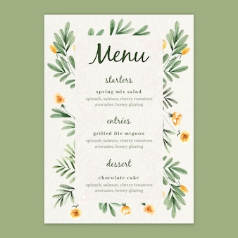 Menu template for wedding with watercolor flowers