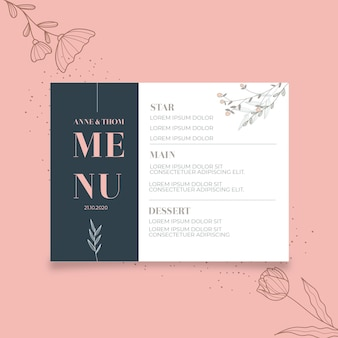 Menu template for wedding