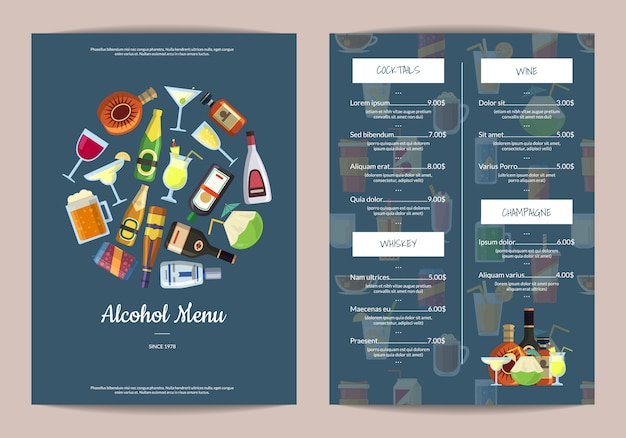 Menu template with alcoholic drinks in glasses and bottles