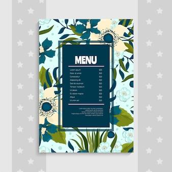 Modello di menu con bordo floreale blu