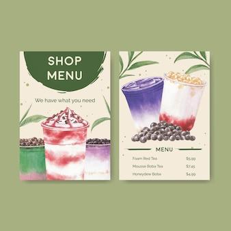 Шаблон меню с пузырьковым чаем с молоком