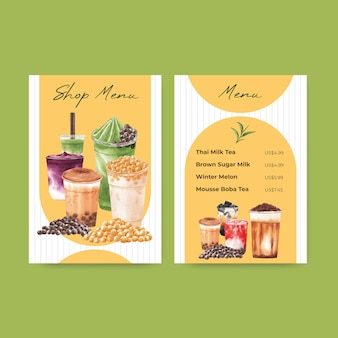 Menu template with bubble milk tea