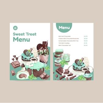수채화 스타일의 초콜릿 민트 디저트가 포함된 메뉴 템플릿