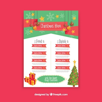 Menu template with christmas decoration