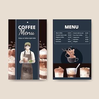 Шаблон меню с кофе в акварельном стиле