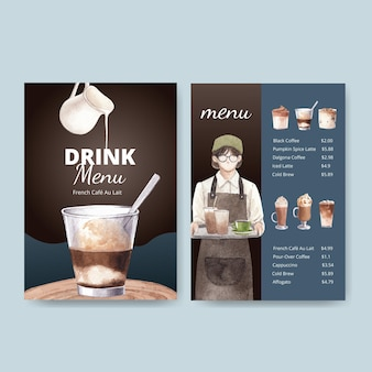 Menu template with coffee in watercolor style