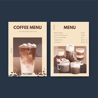 Шаблон меню с кофе