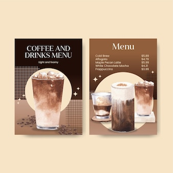 Menu template with coffee