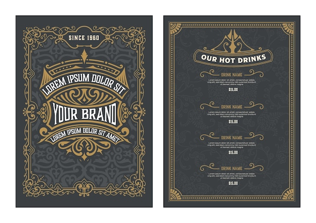Menu template with detailed design