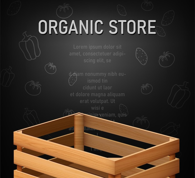 Menu template with empty wooden cargo box for fruits and vegetables.