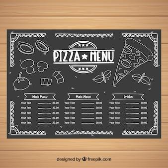 Menu template with fast food in blackboard style