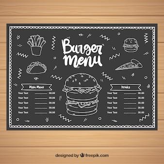 Modello di menu con fast food in stile lavagna