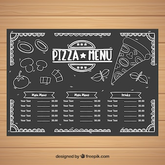Menu template with fast food in blackboard style
