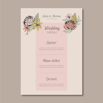Menu template with flowers for wedding