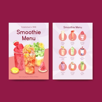 Menu template with fruits smoothies concept