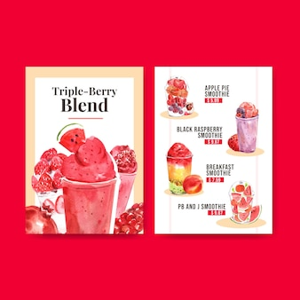 Menu template with fruits smoothies