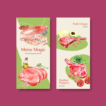 レストランや食品店の水彩イラストのケトン食療法の概念を持つメニューテンプレート。