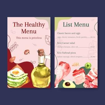 Шаблон меню с концепцией кетогенной диеты для акварельной иллюстрации ресторана и продовольственного магазина.