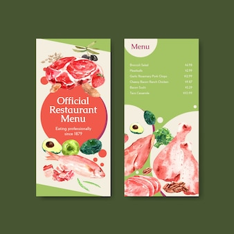 Menu template with ketogenic diet concept for restaurant and food shop watercolor illustration.