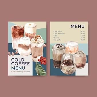 レストランとビストロの水彩画のための韓国のコーヒースタイルのコンセプトを持つメニューテンプレート