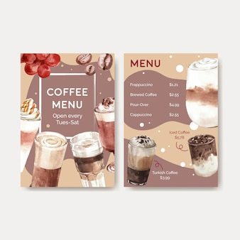 Menu template with korean coffee style  concept for restaurant and bistro watercolor