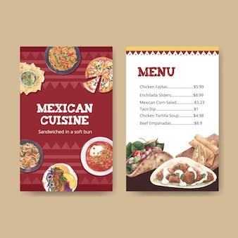 Шаблон меню с акварельной иллюстрацией дизайна концепции мексиканской кухни