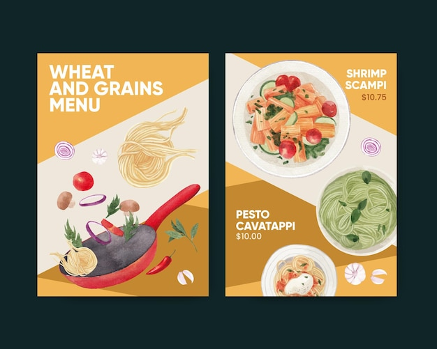Menu template with pasta cancept,watercolor style