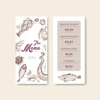 Menu template with seafood concept design for advertise and marketing illustration