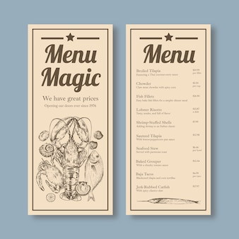 Modello di menu con concept design di frutti di mare per pubblicità e illustrazione di marketing