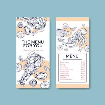 Шаблон меню с концептуальным дизайном морепродуктов для рекламы и маркетинговой иллюстрации